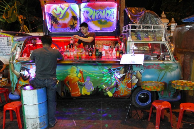 A street bar in the Khao San area, Bangkok, Thailand