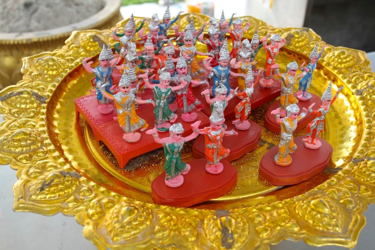 Offerings in Buddhist temple, Bangkok, Thailand