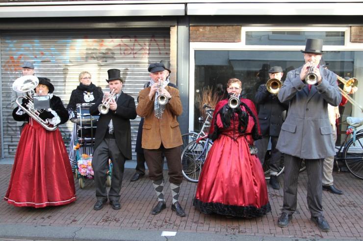 Dickensian band at Haarlem Christmas Market, Netherlands