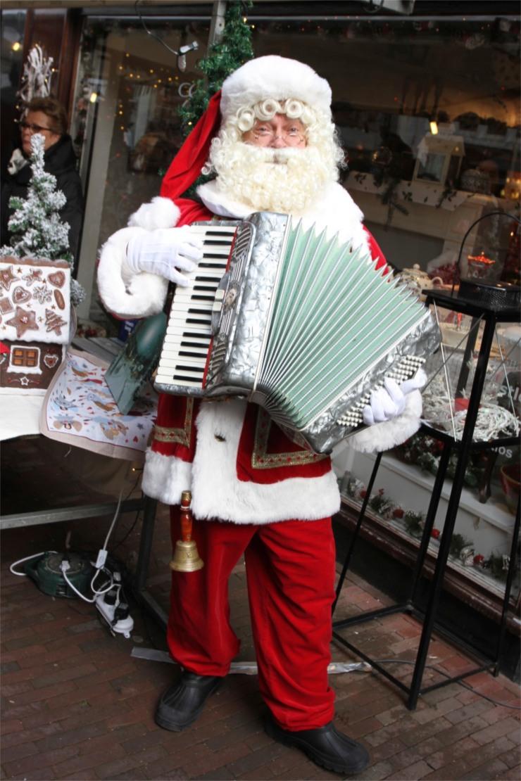 Singing Santa at Haarlem Christmas Market, Netherlands