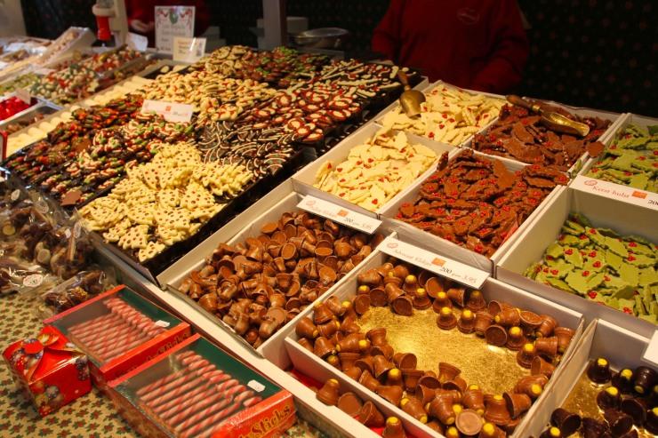Chocolate stall at Haarlem Christmas Market, Netherlands