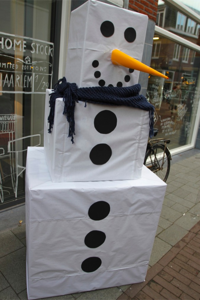 Modernist snowperson at Haarlem Christmas Market, Netherlands