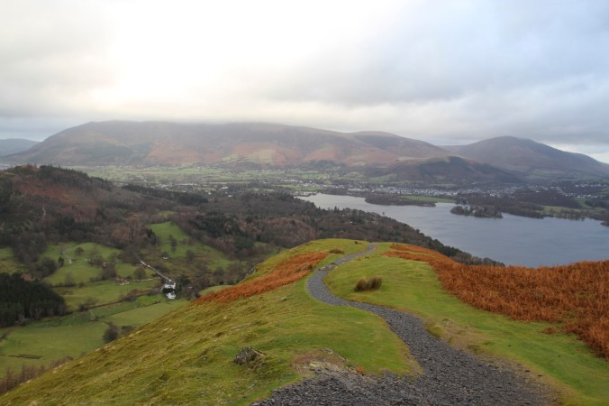Derwent Water with Skiddaw and Belncathra in cloud, from Skelgil Bank, Lake District, Cumbria