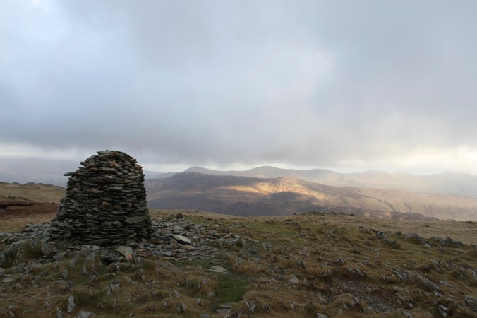 The cairn at the summit of High Spy, Lake District, Cumbria