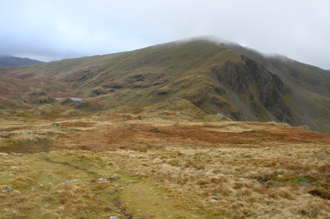Descending to Dale Head Tarn with Dale Head behind, Lake District, Cumbria