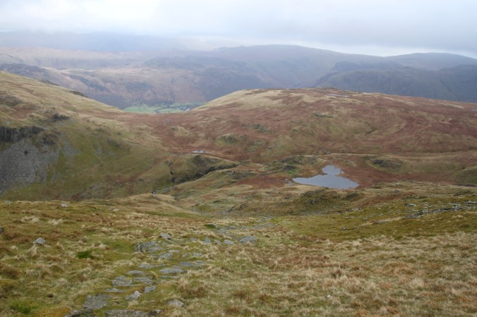 The view over Dale Head Tarn from Dale Head ascent, Lake District, Cumbria