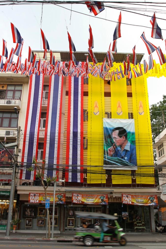 Huge images of King Bhumibol Adulyadej, Bangkok, Thailand