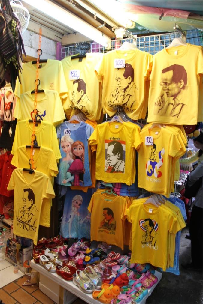 King Bhumibol Adulyadej t-shirts, Bangkok, Thailand