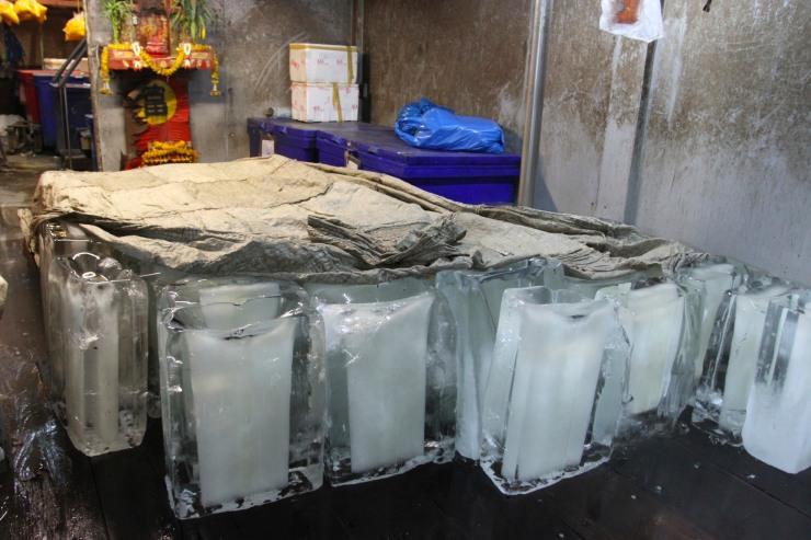 Ice makers, Pak Khlong Talat, Night Flower Market, Bangkok, Thailand