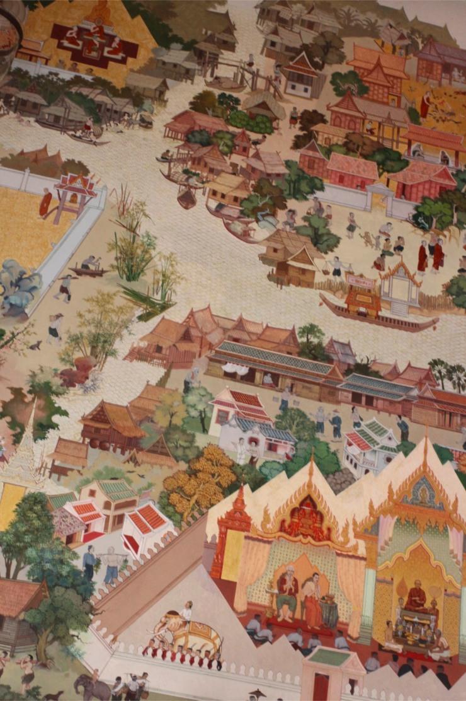 Temple painting, Wat Intharawihan, Bangkok, Thailand