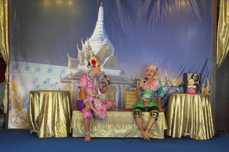 Theatrical performance, Buddhist temple, Bangkok, Thailand