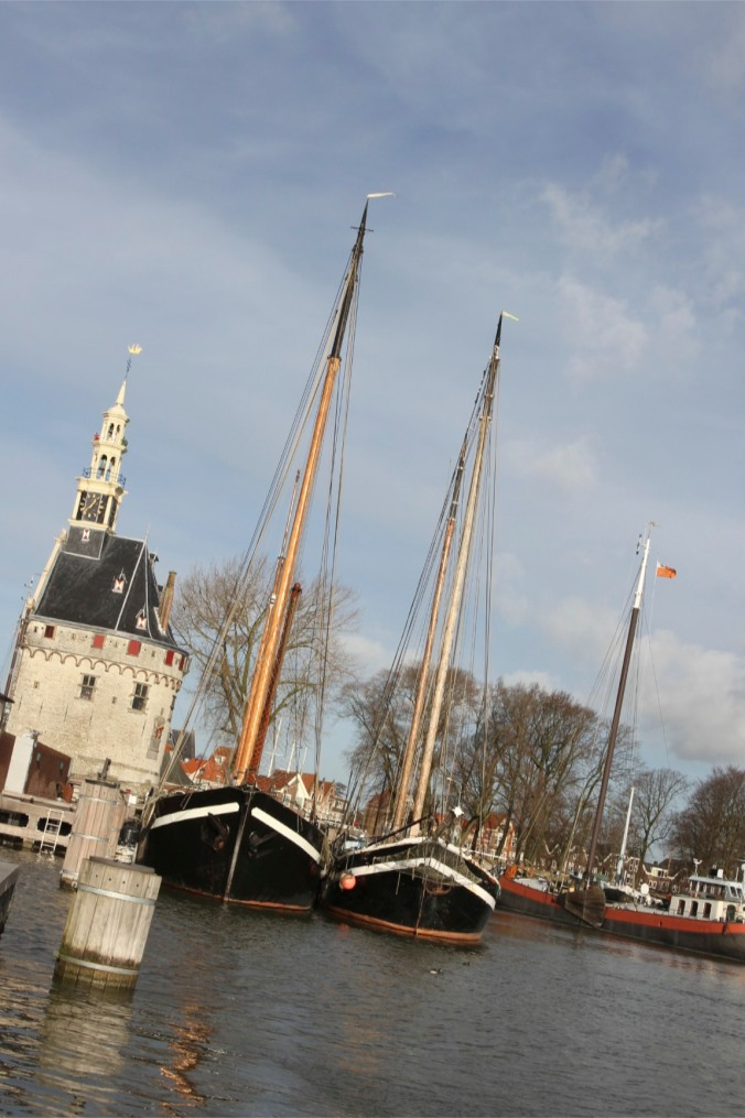 The Hoofdtoren, harbour and boats, Hoorn, Netherlands