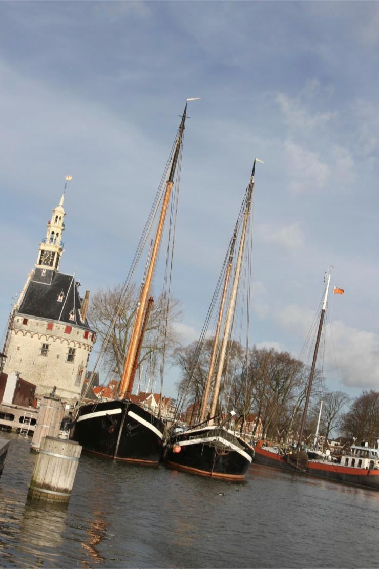 The Hoofdtoren, harbour and boats, Hoorn, Netherlands