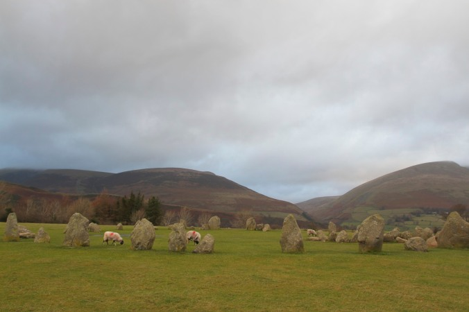 Castlerigg Stone Circle backed by Blencathra and Skiddaw, Keswick, Lake District, Cumbria