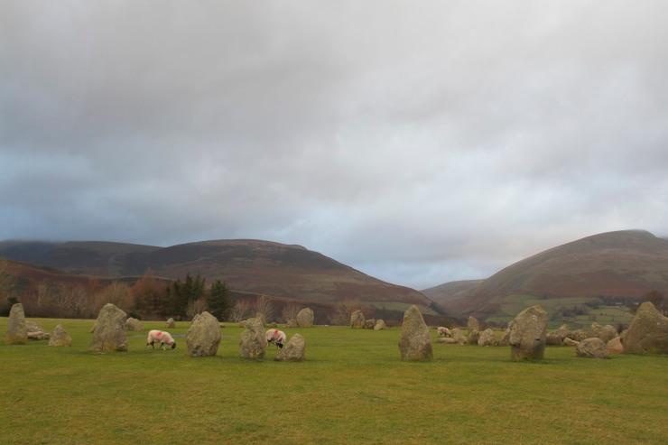 Castlerigg Stone Circle backed by Blencathra and Skiddaw, Keswick, Lake District, Cumbria