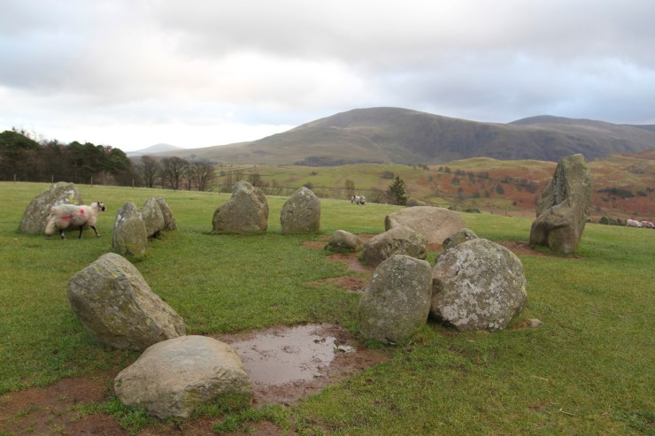Castlerigg Stone Circle backed by Blencathra, Keswick, Lake District, Cumbria
