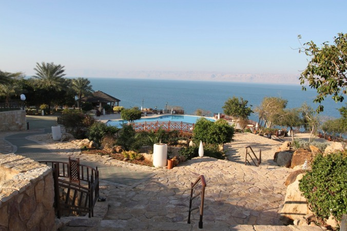 Swimming pool over the Dead Sea, Jordan
