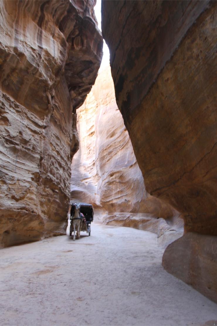 The Siq canyon with horse and cart, Petra, Jordan