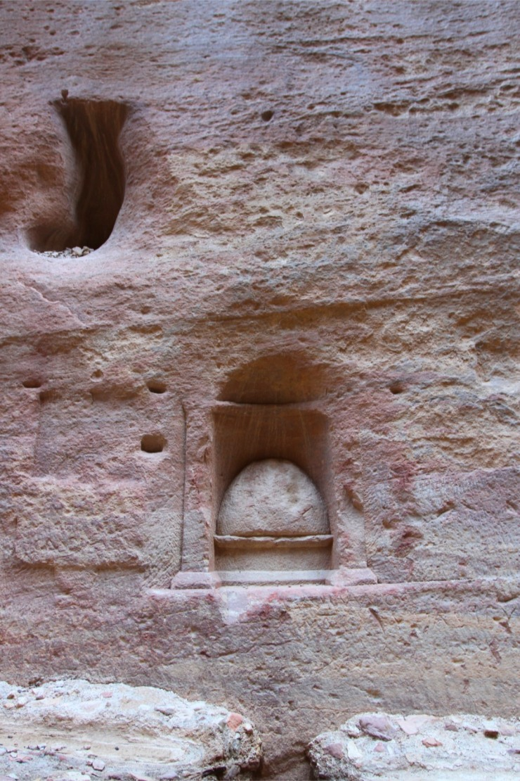 Phallic fertility symbol in the Siq canyon, Petra, Jordan