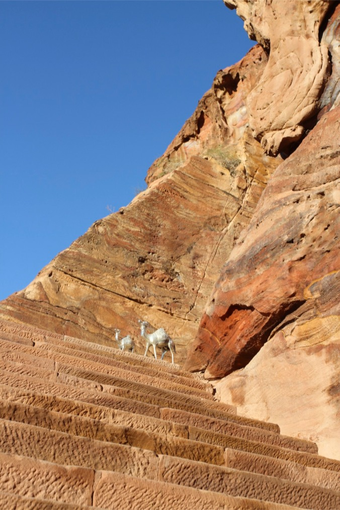 Stairway with 'silver' camels, Petra, Jordan