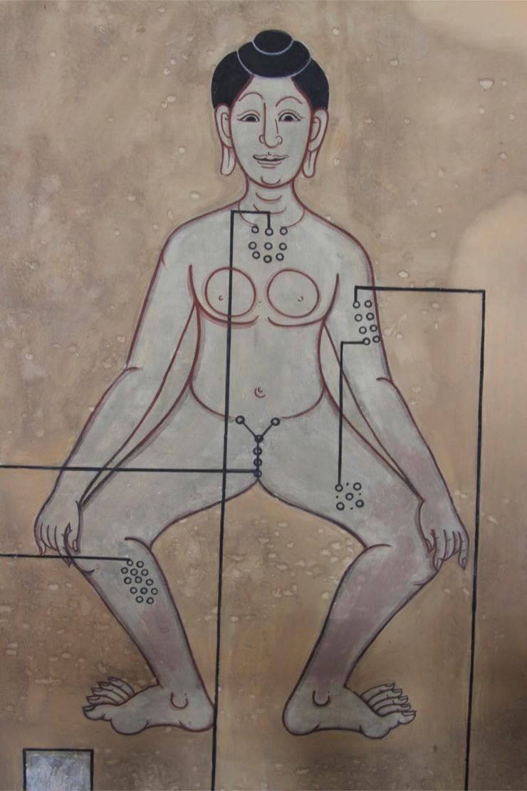 Thai traditional medicine diagram, Wat Pho, Bangkok, Thailand