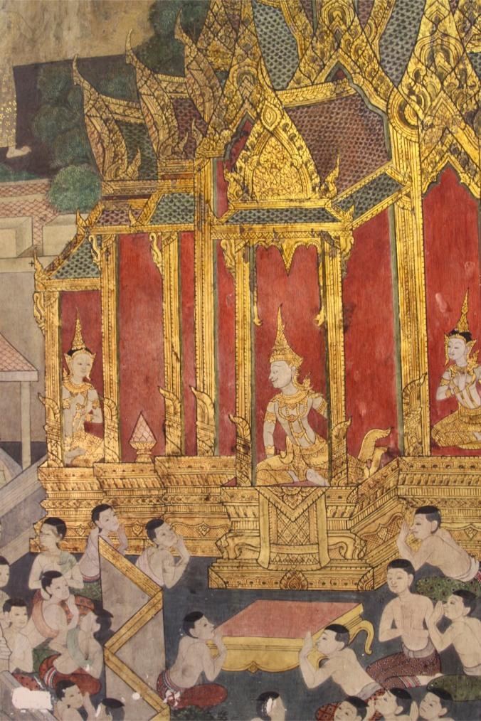 Temple paintings, Reclining Buddha, Wat Pho, Bangkok, Thailand