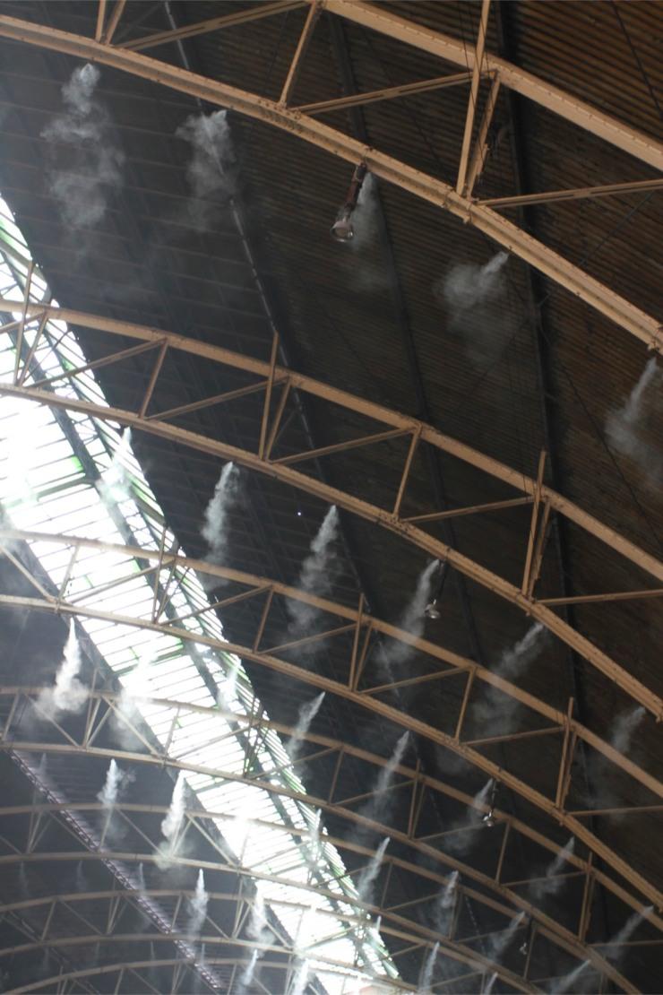 Water mist, Hua Lamphong railway station, Bangkok, Thailand