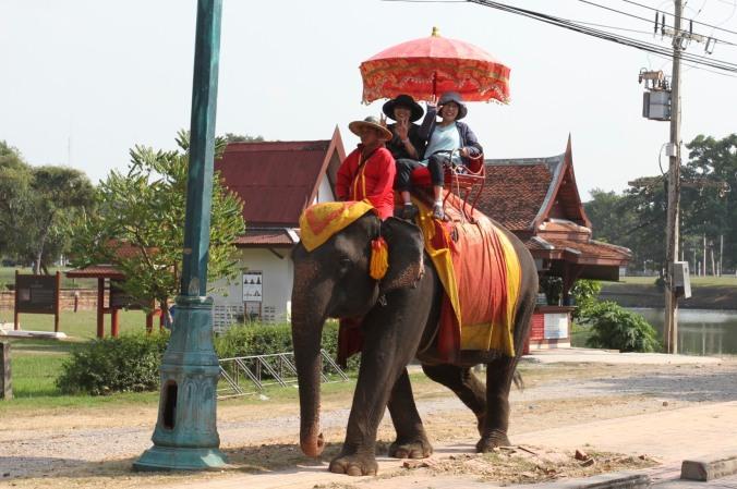 Riding an elephant, Ayuthaya, Thailand