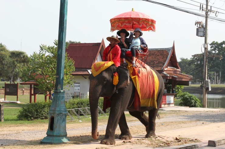 Riding an elephant, Ayuthaya, Thailand