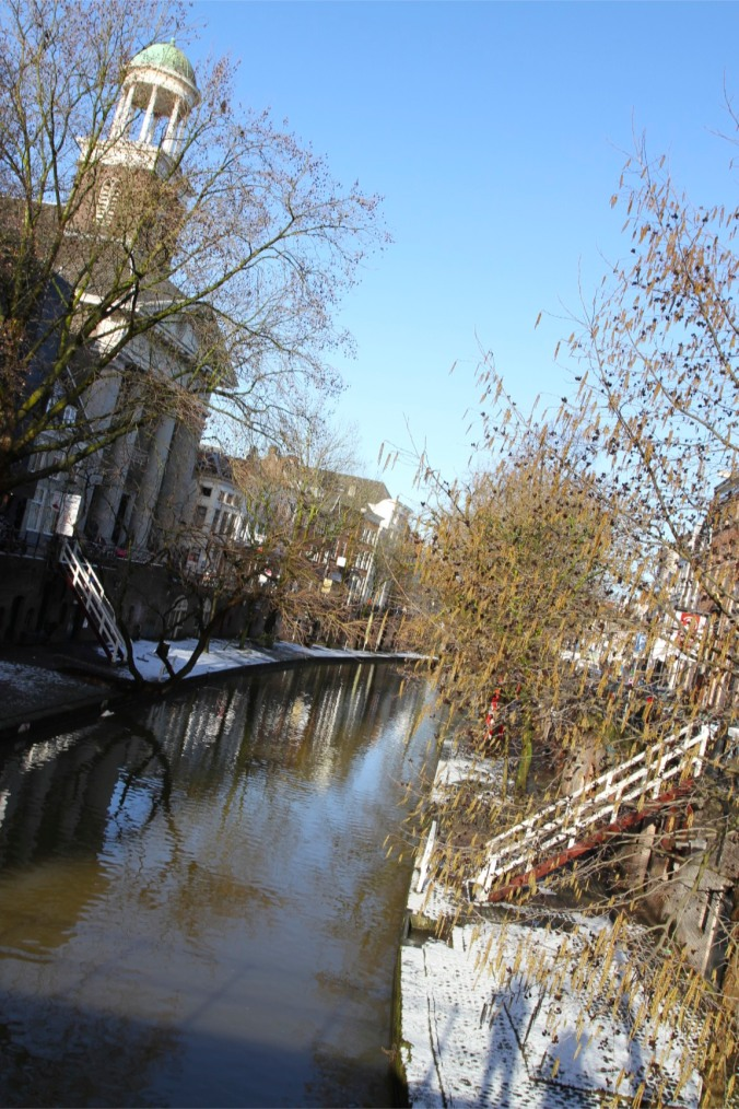 Canals with snow on the ground, Utrecht, The Netherlands