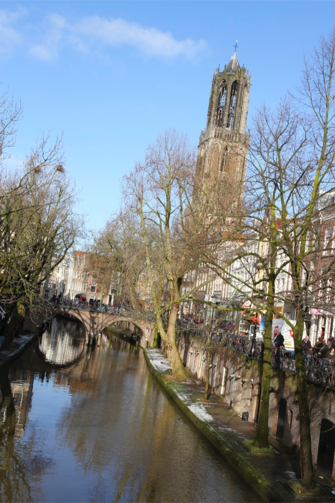 The Domtoren and canals with snow on the ground, Utrecht, The Netherlands