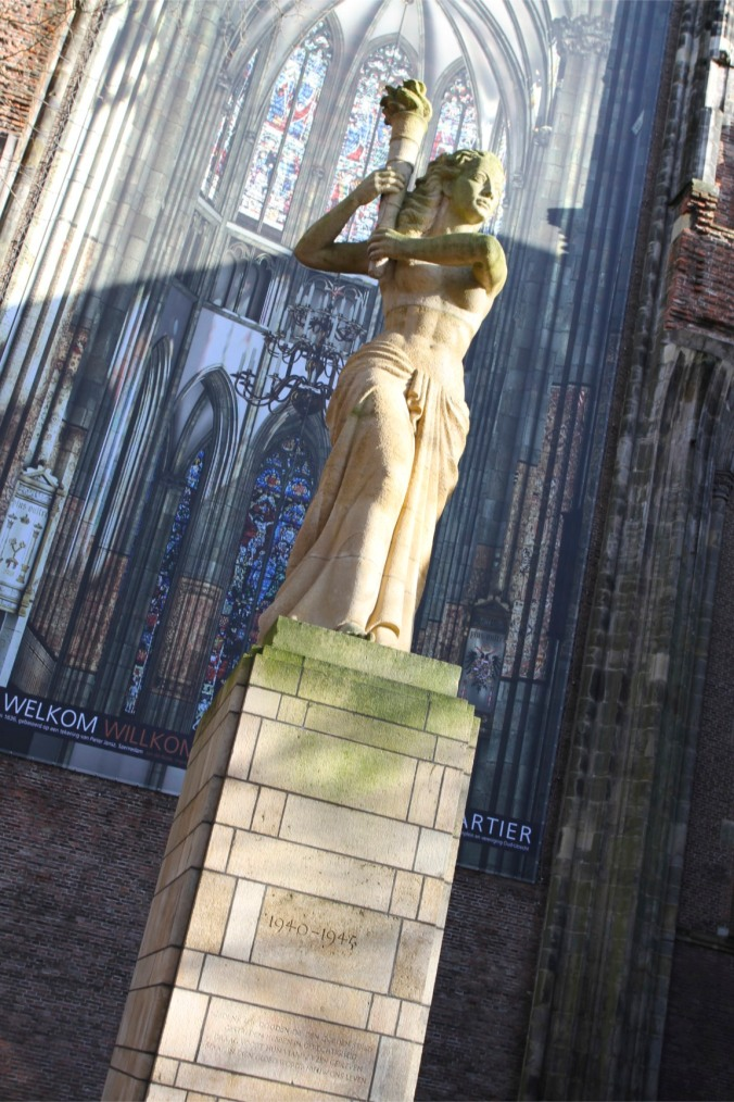 Statue outside Utrecht Cathedral, The Netherlands