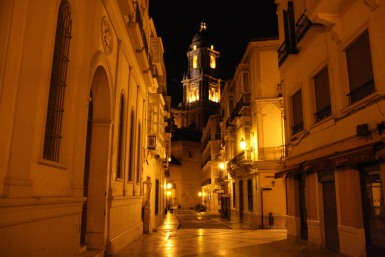 Malaga at night, Andalusia, Spain