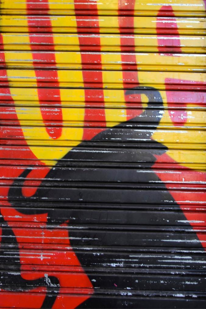 Painted doorway, Madrid, Spain