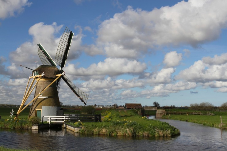 Windmill on the tulip route, Netherlands
