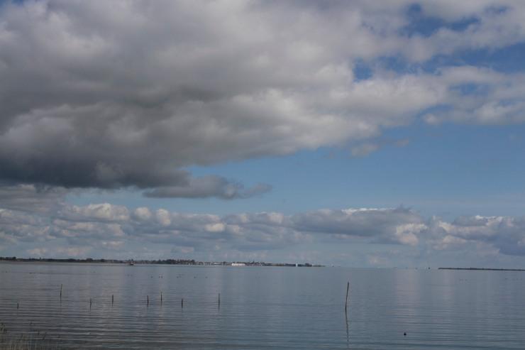 The view across Gouwzee towards Monnickendam, Waterland, Netherlands
