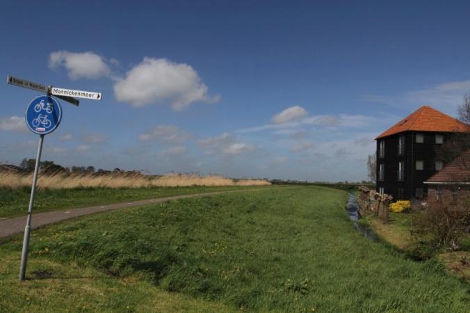 Cycling in the Waterland near Broek in Waterland, Netherlands