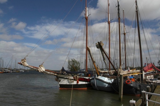 Traditional boats in the old harbour, Monnickendam, Netherlands