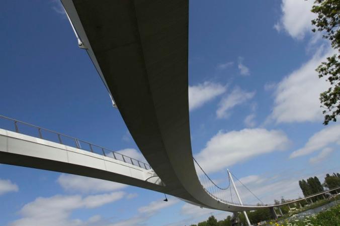 Cycle bridge over the Rijnkanaal, Amsterdam, Netherlands