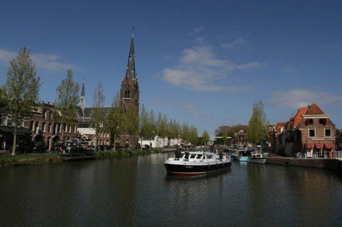 Laurentius Church and canals, Weesp, Netherlands