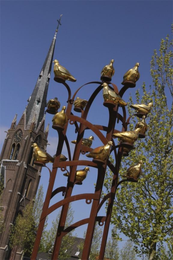 Laurentius Church and bird sculpture, Weesp, Netherlands