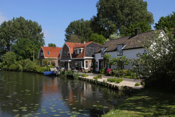 Canals and Dutch houses, Weesp, Netherlands