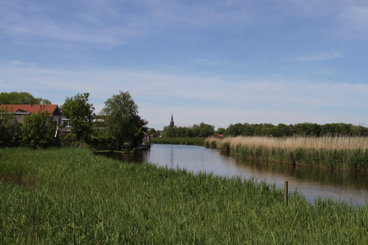 Cycling in the Waterland near Broek in Waterland, Netherlands