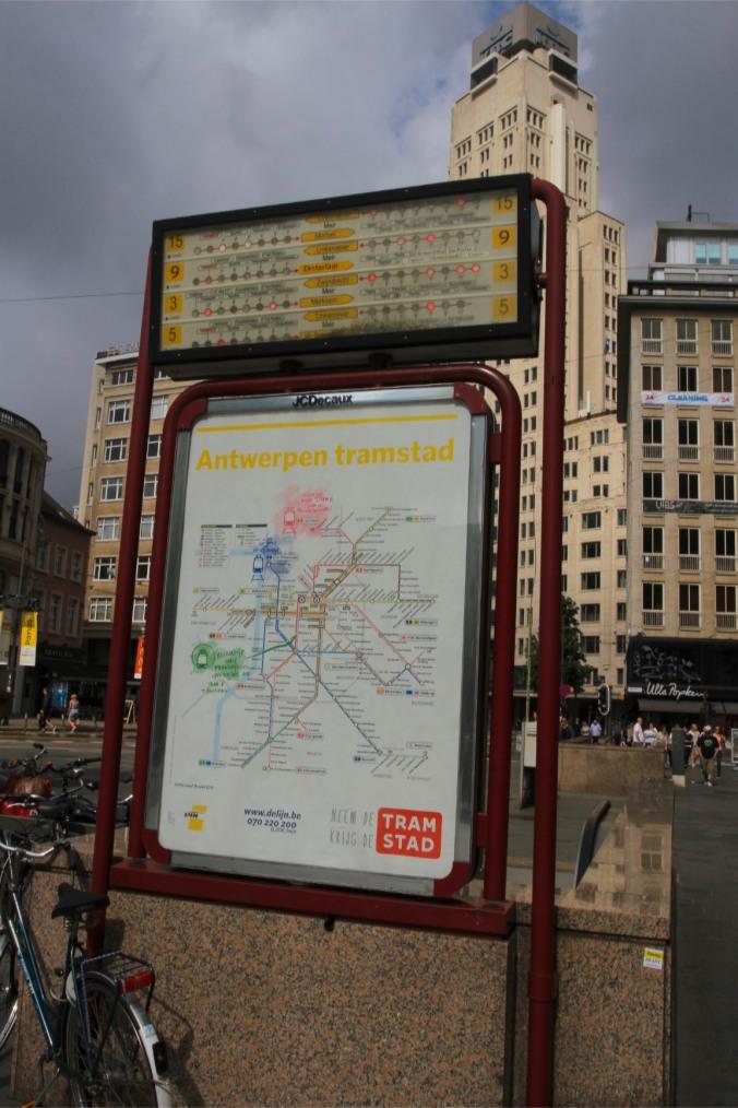 Tram map, Antwerp, Belgium