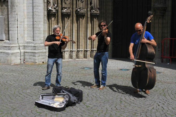 Buskers outside the Cathedral, Antwerp, Belgium