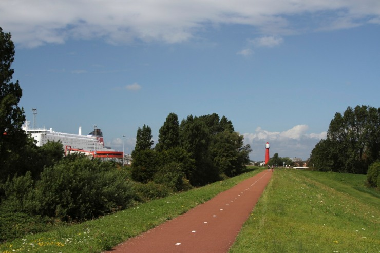 Cycle path near Hook of Holland, Netherlands