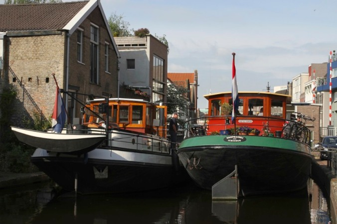 Boat jam on a canal, Schiedam, Netherlands