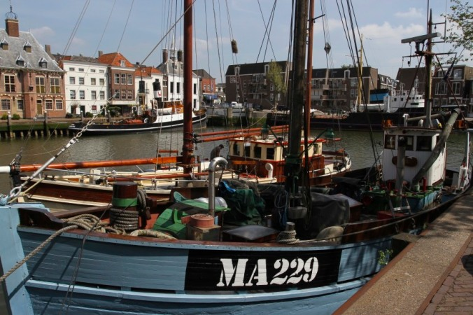Boats in Maassluis harbour, Netherlands