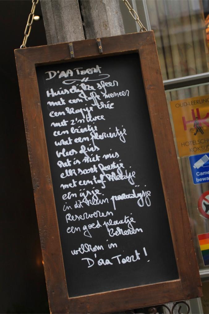 Restaurant menu, Antwerp, Belgium
