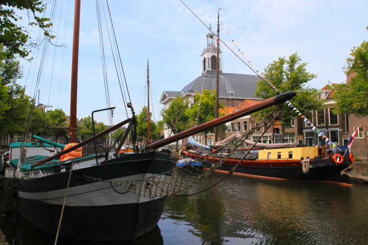 Boats and canals in Schiedam, Netherlands